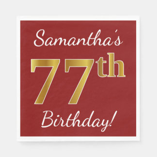 Red, Faux Gold 77th Birthday + Custom Name Paper Napkins