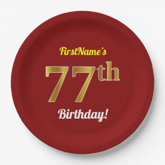 Red, Faux Gold 77th Birthday + Custom Name Paper Plate