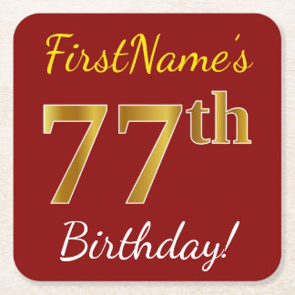 Red, Faux Gold 77th Birthday + Custom Name Square Paper Coaster