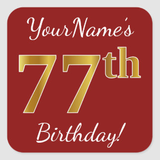 Red, Faux Gold 77th Birthday + Custom Name Sticker