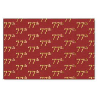 Red, Faux Gold 77th (Seventy-Seventh) Event Tissue Paper