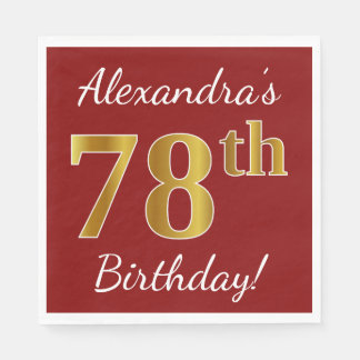 Red, Faux Gold 78th Birthday + Custom Name Paper Napkin