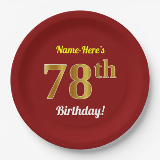 Red, Faux Gold 78th Birthday + Custom Name Paper Plate