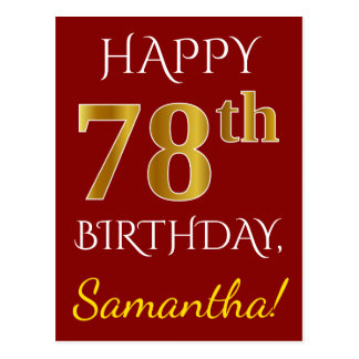 Red, Faux Gold 78th Birthday + Custom Name Postcard