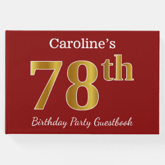 Red, Faux Gold 78th Birthday Party + Custom Name Guest Book