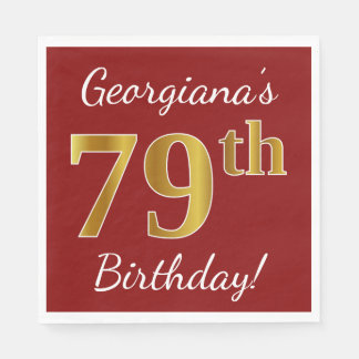 Red, Faux Gold 79th Birthday + Custom Name Disposable Napkin