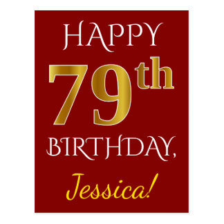 Red, Faux Gold 79th Birthday + Custom Name Postcard