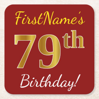 Red, Faux Gold 79th Birthday + Custom Name Square Paper Coaster