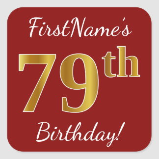 Red, Faux Gold 79th Birthday + Custom Name Sticker