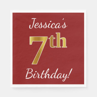 Red, Faux Gold 7th Birthday + Custom Name Paper Napkins