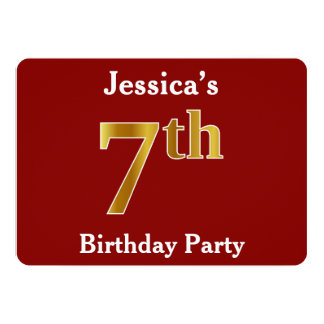 Red, Faux Gold 7th Birthday Party + Custom Name Card