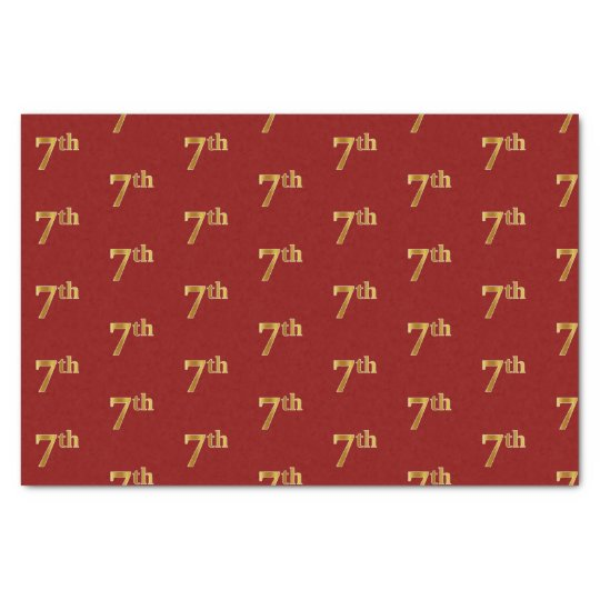 Red, Faux Gold 7th (Seventh) Event Tissue Paper