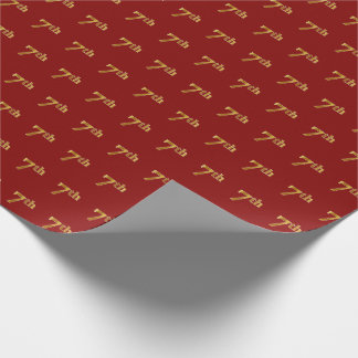 Red, Faux Gold 7th (Seventh) Event Wrapping Paper