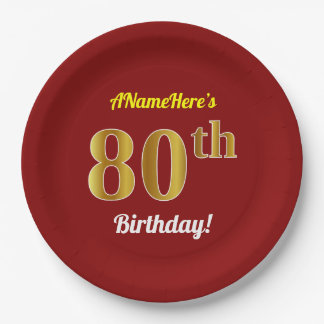 Red, Faux Gold 80th Birthday + Custom Name Paper Plate
