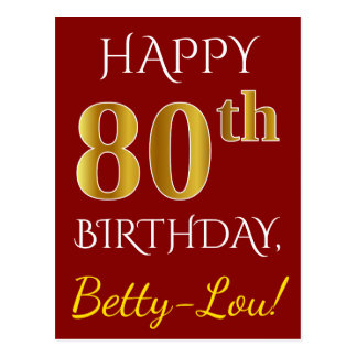 Red, Faux Gold 80th Birthday + Custom Name Postcard