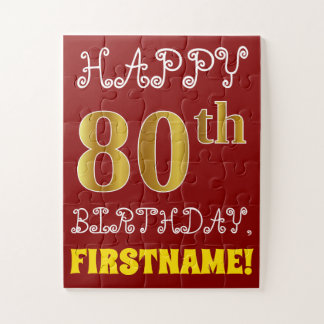 Red, Faux Gold 80th Birthday + Custom Name Puzzle