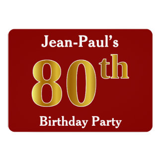 Red, Faux Gold 80th Birthday Party + Custom Name Card