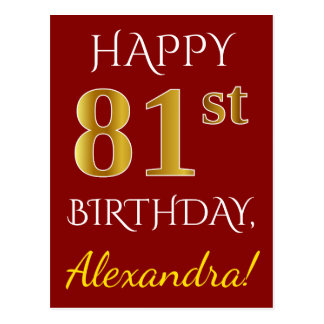 Red, Faux Gold 81st Birthday + Custom Name Postcard
