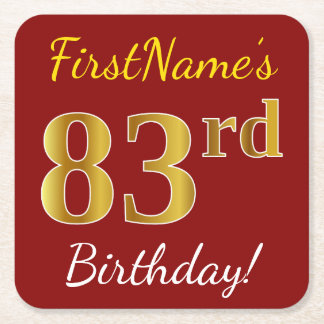 Red, Faux Gold 83rd Birthday + Custom Name Square Paper Coaster