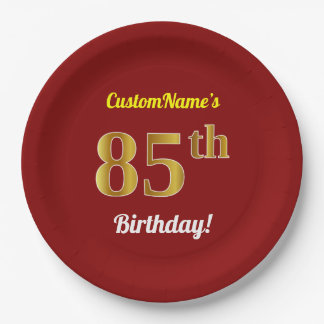 Red, Faux Gold 85th Birthday + Custom Name Paper Plate