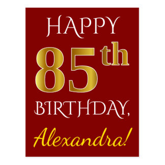 Red, Faux Gold 85th Birthday + Custom Name Postcard