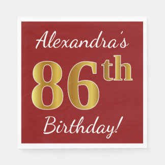 Red, Faux Gold 86th Birthday + Custom Name Disposable Napkin