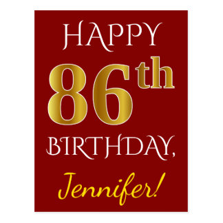 Red, Faux Gold 86th Birthday + Custom Name Postcard