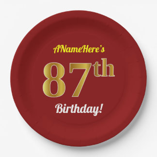 Red, Faux Gold 87th Birthday + Custom Name Paper Plate