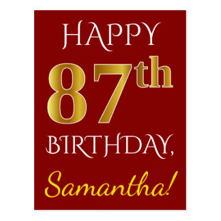 Red, Faux Gold 87th Birthday + Custom Name Postcard