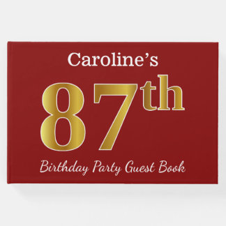 Red, Faux Gold 87th Birthday Party + Custom Name Guest Book