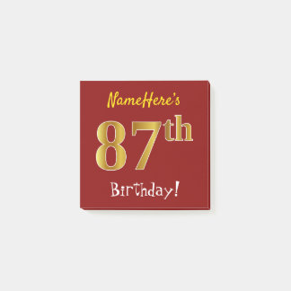 Red, Faux Gold 87th Birthday, With Custom Name Post-it Notes