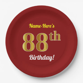 Red, Faux Gold 88th Birthday + Custom Name Paper Plate