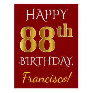Red, Faux Gold 88th Birthday + Custom Name Postcard