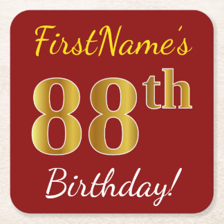 Red, Faux Gold 88th Birthday + Custom Name Square Paper Coaster