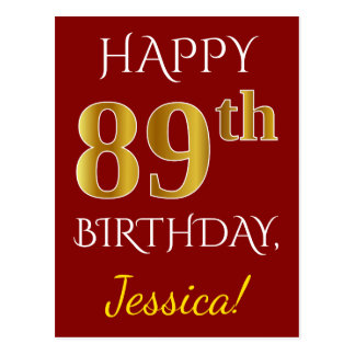 Red, Faux Gold 89th Birthday + Custom Name Postcard