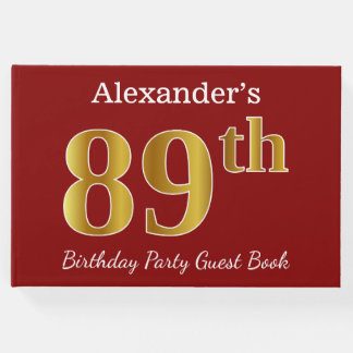Red, Faux Gold 89th Birthday Party + Custom Name Guest Book