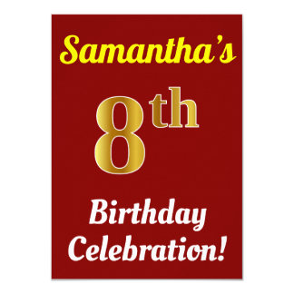 Red, Faux Gold 8th Birthday Celebration + Name Card