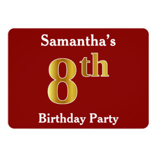 Red, Faux Gold 8th Birthday Party + Custom Name Card