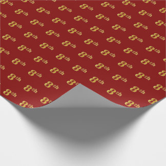 Red, Faux Gold 8th (Eighth) Event Wrapping Paper