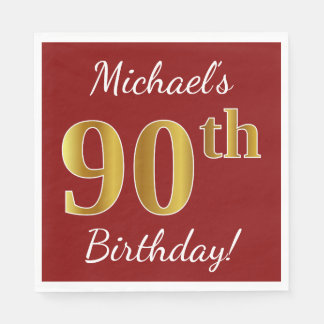 Red, Faux Gold 90th Birthday + Custom Name Disposable Napkin