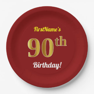 Red, Faux Gold 90th Birthday + Custom Name Paper Plate