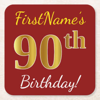 Red, Faux Gold 90th Birthday + Custom Name Square Paper Coaster