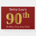 Red, Faux Gold 90th Birthday Party + Custom Name Guest Book