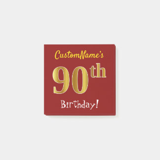 Red, Faux Gold 90th Birthday, With Custom Name Post-it Notes