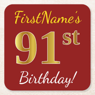 Red, Faux Gold 91st Birthday + Custom Name Square Paper Coaster