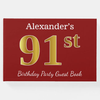 Red, Faux Gold 91st Birthday Party + Custom Name Guest Book