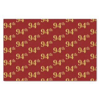 Red, Faux Gold 94th (Ninety-Fourth) Event Tissue Paper