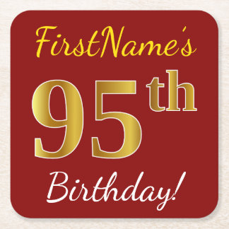 Red, Faux Gold 95th Birthday + Custom Name Square Paper Coaster