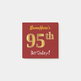 Red, Faux Gold 95th Birthday, With Custom Name Post-it Notes