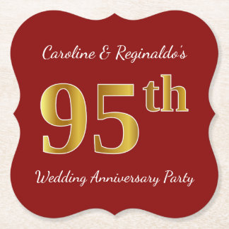 Red, Faux Gold 95th Wedding Anniversary Party Paper Coaster